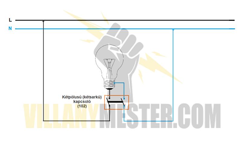 kétpólusú-kapcsoló-bekötése
